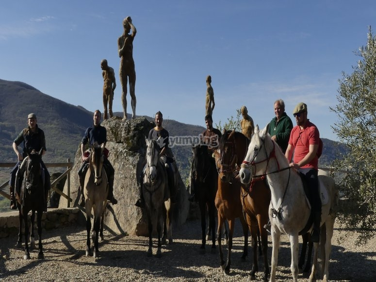Group horse riding through the Jerte valley