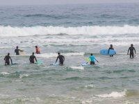 Alumnos de surf con las tablas en el agua