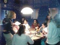 Girls and monitors in a radio studio