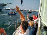 乘坐帆船与加的斯的埃尔卡诺说再见