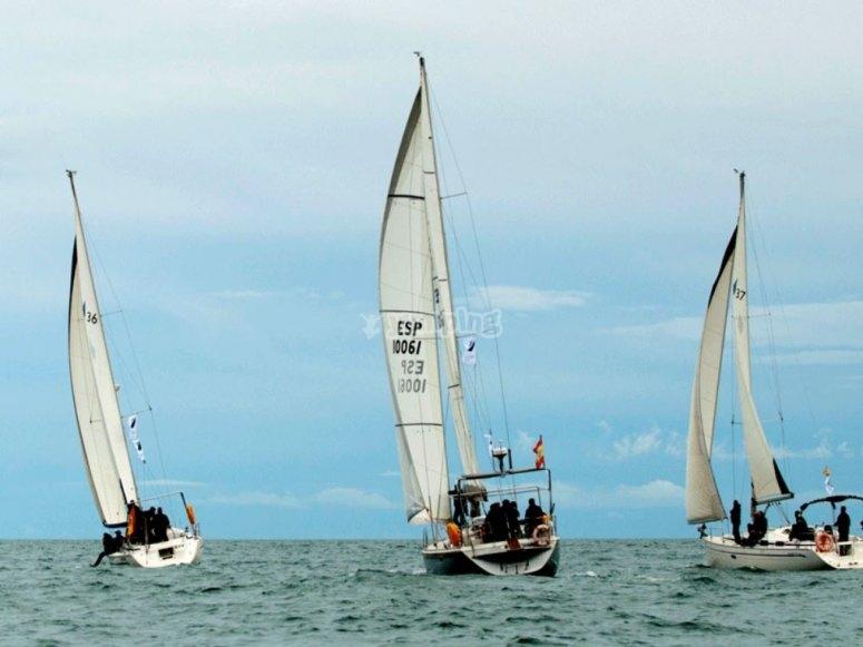 Participantes luchando por ganar la regata