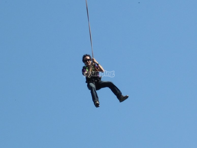A boy suspended in the air