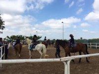 Jóvenes en clase de equitación