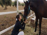 Pequeña jinete junto al caballo