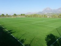 Green soccer campus with goals in between