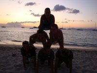 Human pyramid in the sand