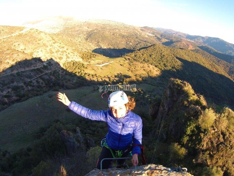 Llegando a la cima para ver el paisaje
