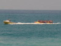 Banana boat dragged by the boat