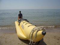 Banana boat on the shore