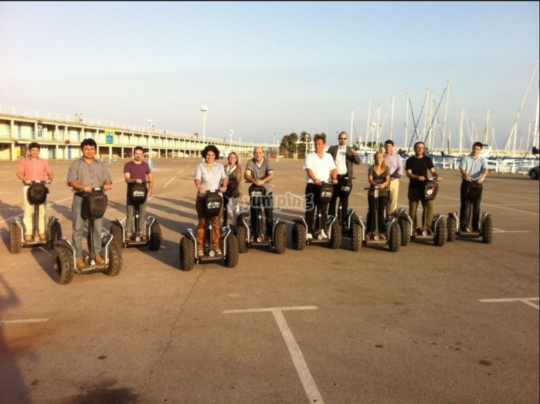 Group of segways in Barcelona
