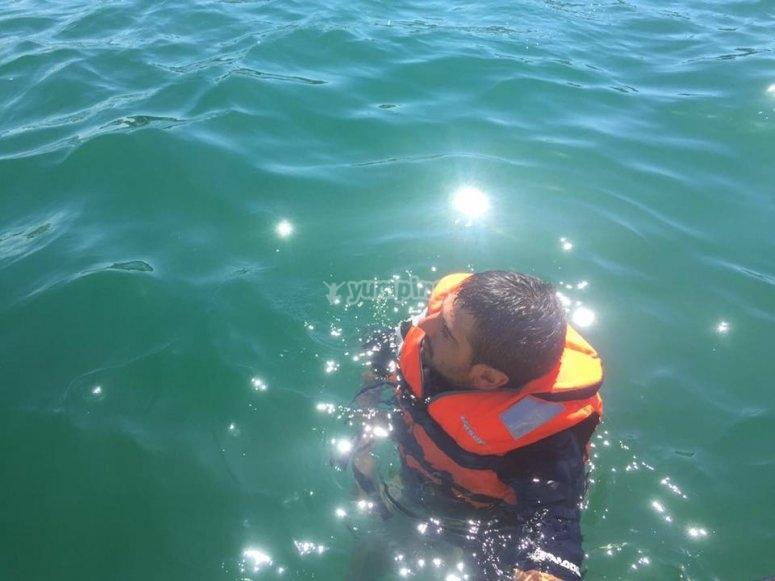 Parada para nadar en el Cantabrico