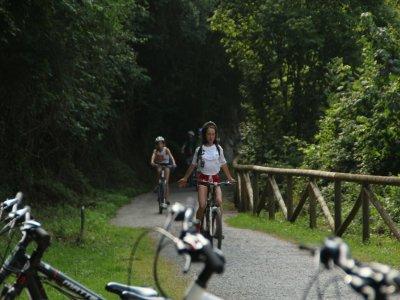 沿着阿斯图里亚斯的Senda del Oso骑自行车下山