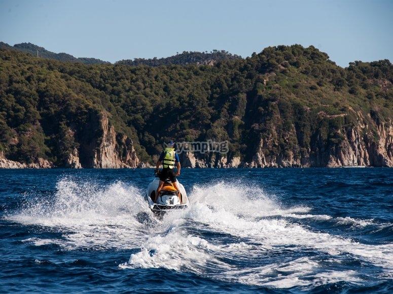 Driving the motorbike on the Mediterranean sea