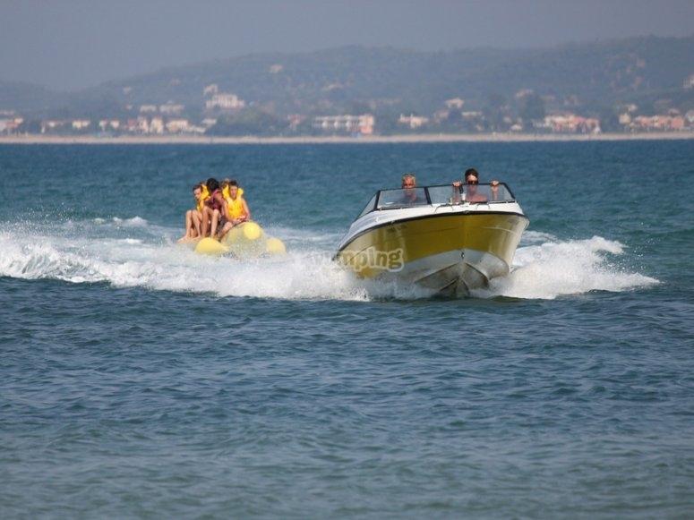 Banana towed by a boat