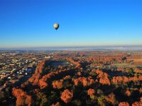 A balloon over ochre landscapes