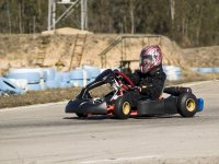 on the track with the kart