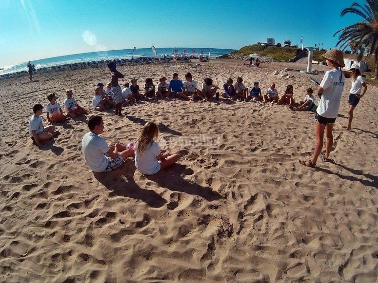 Sesiones teoricas en la orilla