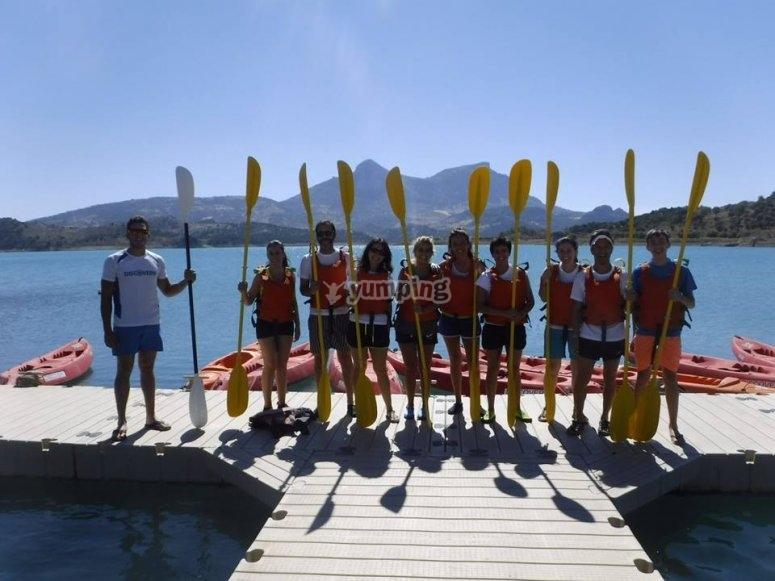 Grupo para la excursion en piragua