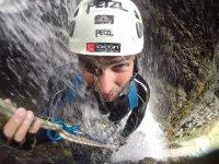 Rappel in a waterfall