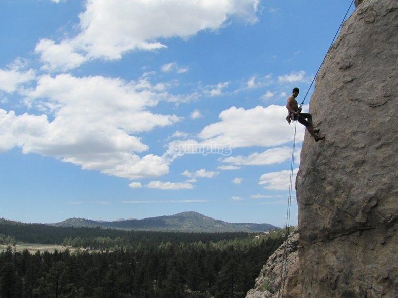 Climber climbing the rock
