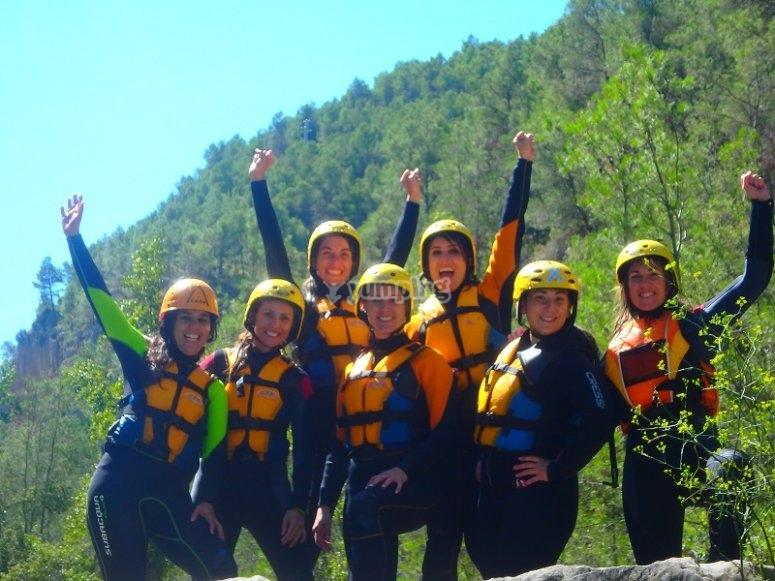 Girls prepared for the aquatic gymkhana