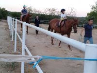 On the horses and with the equestrian teachers