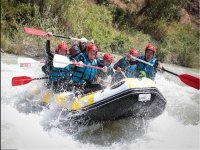 On board the raft with friends