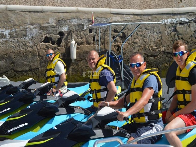Pilots on the jet skis