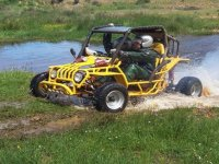 Leaving the water with the buggie