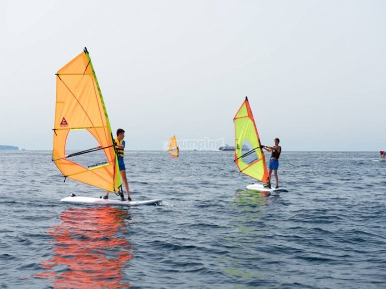 On the provided windsurfing board