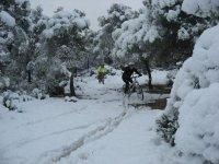En bicicleta por el bosque nevado