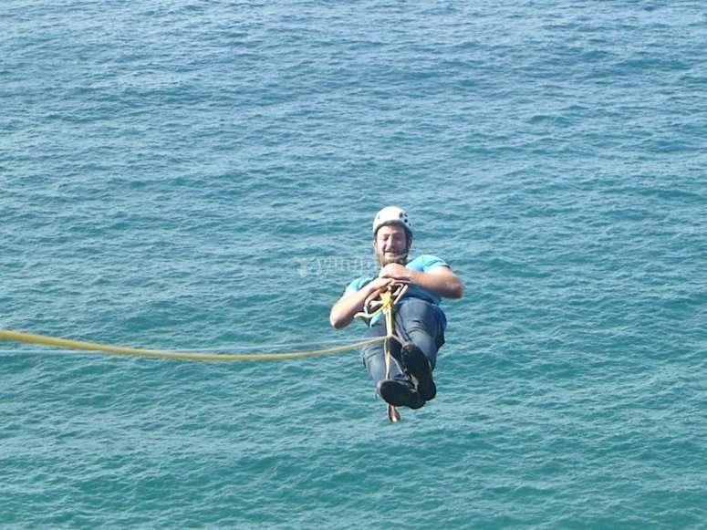 Bungee jumping by the sea