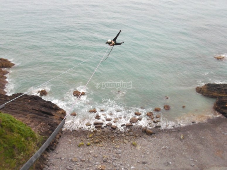 Bungee jumping over the water