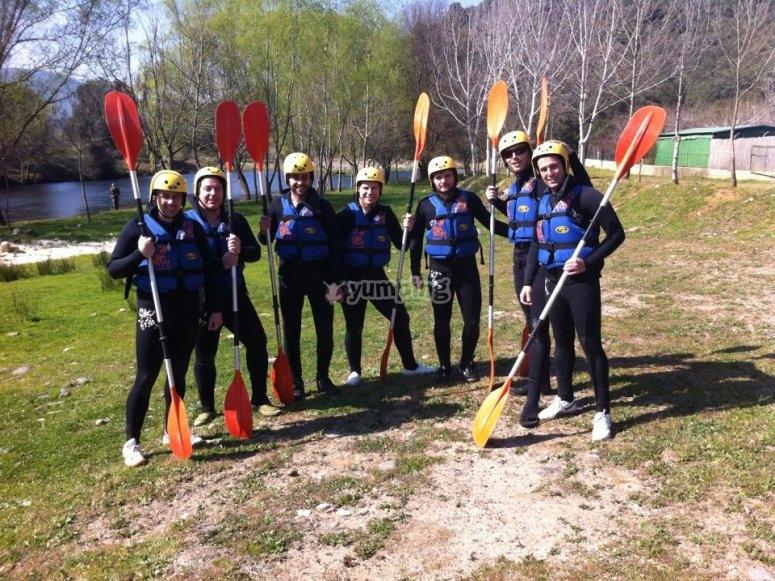 Grupo listo para embarcarse