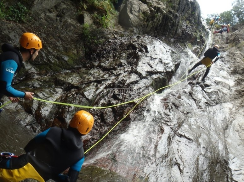 Rappel in the canyon