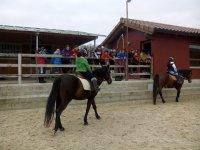 Jovenes jinetes en los caballos