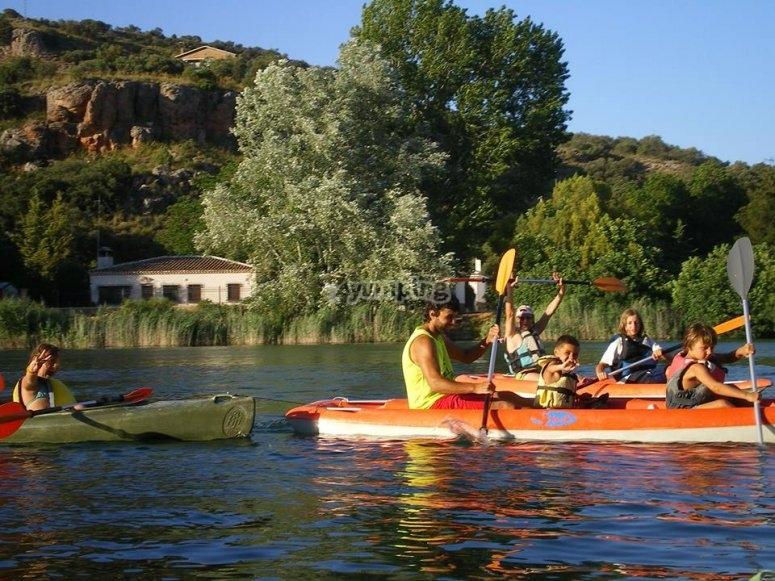 Familias en los kayaks