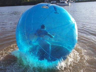 Water zorbing in the Guadiana river, 5min