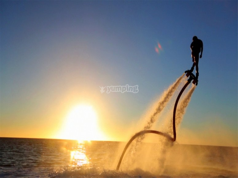 flyboard at the sunset