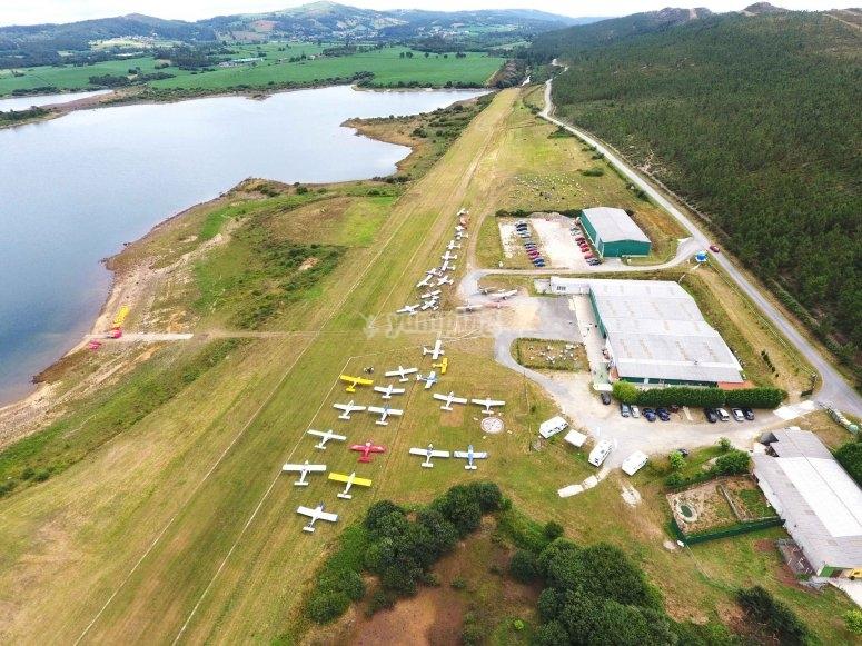 Panorámica del Aeródromo de A Fervenza desde aeronave