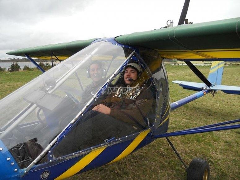 Pilotando junto al instructor en Fervenza