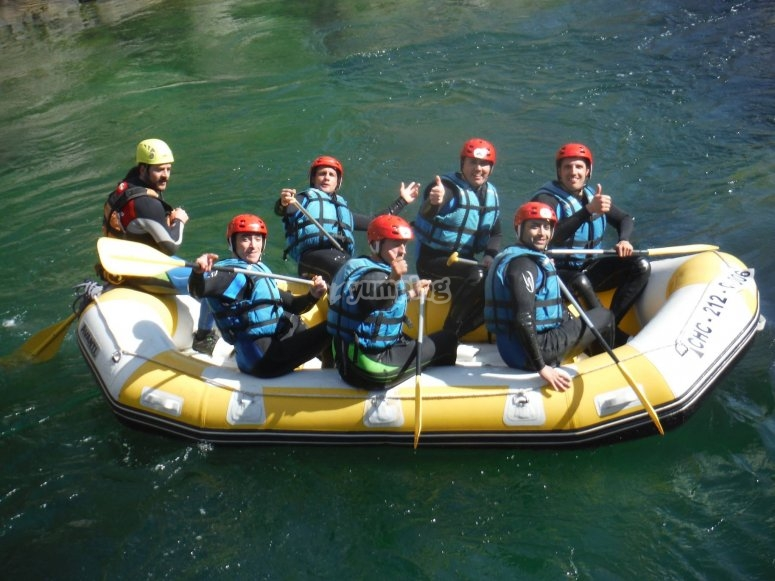 In the rafting raft