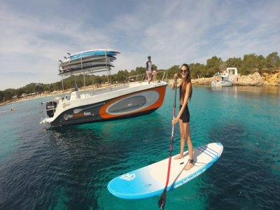 Ruta en barco y SUP por las mejores calas Ibiza 3h