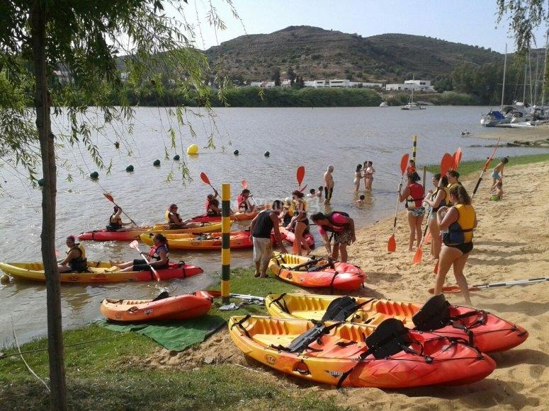 Kayaks en la orilla