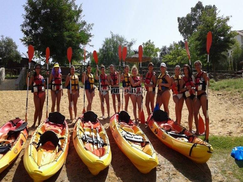 Con los kayaks