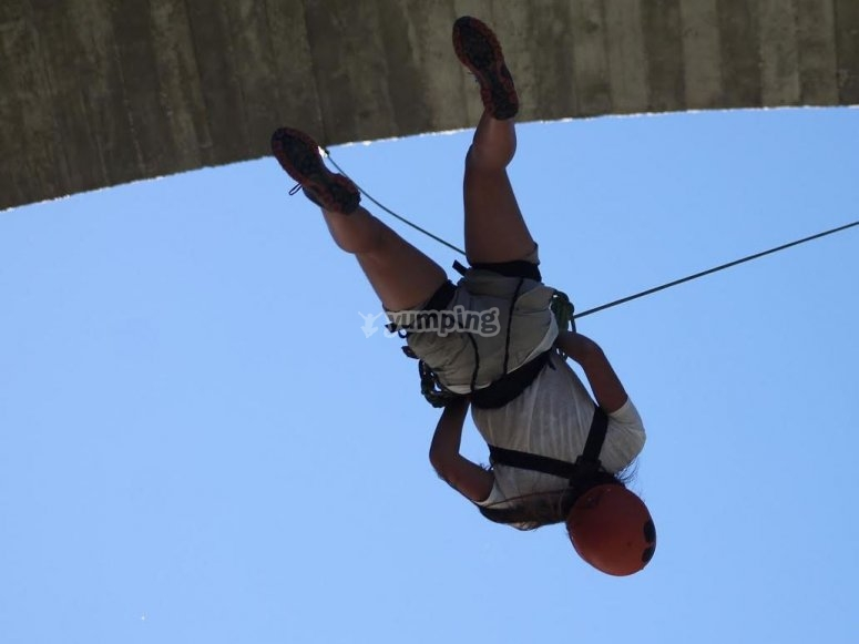 Practicing bungee jumping