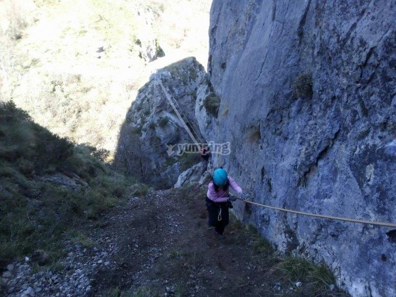 北部的Ferrata-用绳子上升