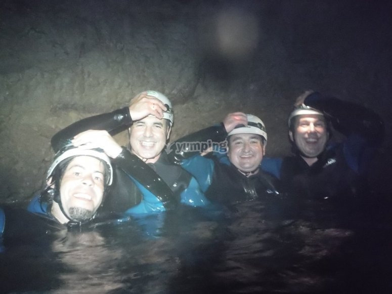 Teammates inside the cave