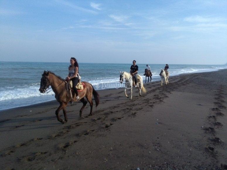 Montando a caballo por la costa