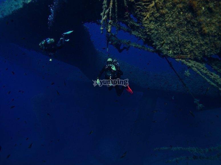 在福门特拉岛练习潜水